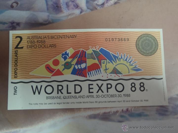 BILLETE 2 EXPO DOLARES AUSTRALIA 88 PLANCHA (Numismática - Notafilia - Billetes Extranjeros)