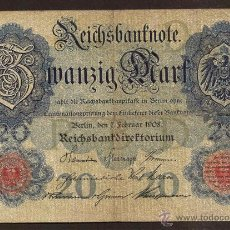 Billetes extranjeros: ALEMANIA. 20 MARK 7.2.1908. PICK 31. Lote 40489249