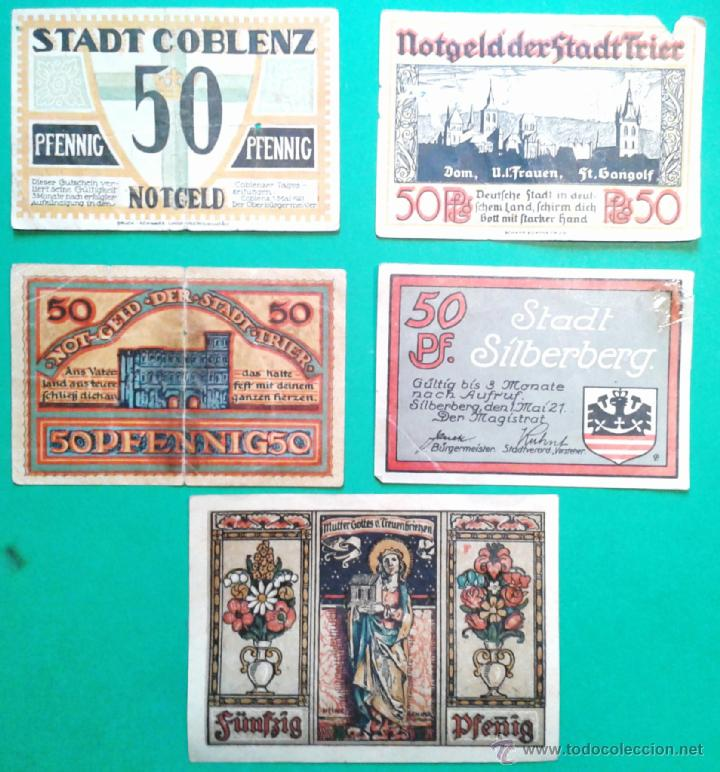 5 BILLETES PEQUEÑOS DE ALEMANIA, DINERO DE EMERGENCIA AÑOS 1920, VER TEXTO (LOTE 20) (Numismática - Notafilia - Billetes Extranjeros)