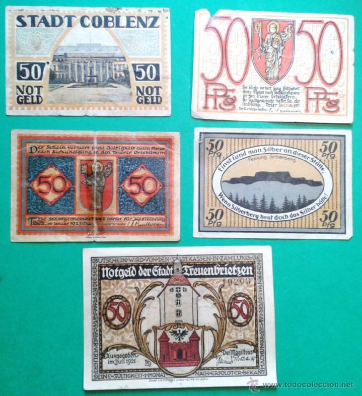 Billetes extranjeros: 5 BILLETES PEQUEÑOS DE ALEMANIA, DINERO DE EMERGENCIA AÑOS 1920, VER TEXTO (LOTE 20) - Foto 2 - 41243573
