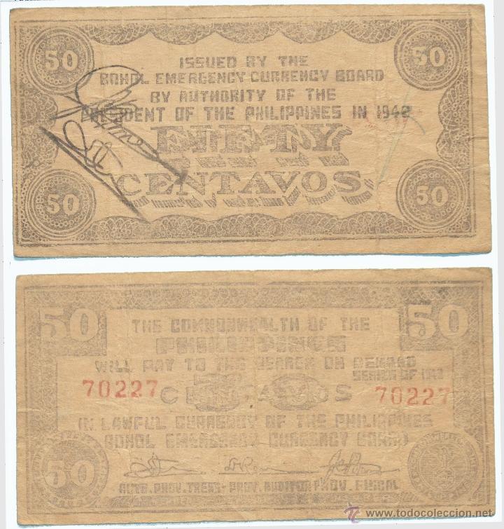 FILIPINAS. 50 CENTAVOS DE 1942. MBC+ (Numismática - Notafilia - Billetes Extranjeros)
