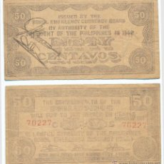 Billetes extranjeros: FILIPINAS. 50 CENTAVOS DE 1942. MBC+. Lote 41253317
