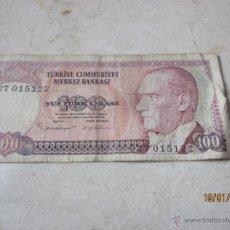 Billetes extranjeros: BILLETE 100 LIRAS TURQUIA 1970. Lote 41412267