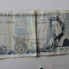 Billetes extranjeros: BILLETE 5 LIBRAS 5 POUNDS . Lote 41763740