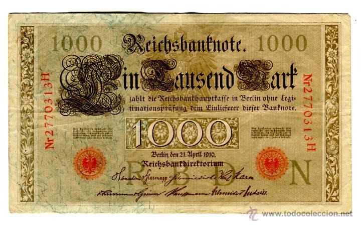 MIL (1000) MARCOS BERLIN 21 DE ABRIL DE 1910 SELLO ROJO EL DE LAS IMAGENES (Numismática - Notafilia - Billetes Extranjeros)