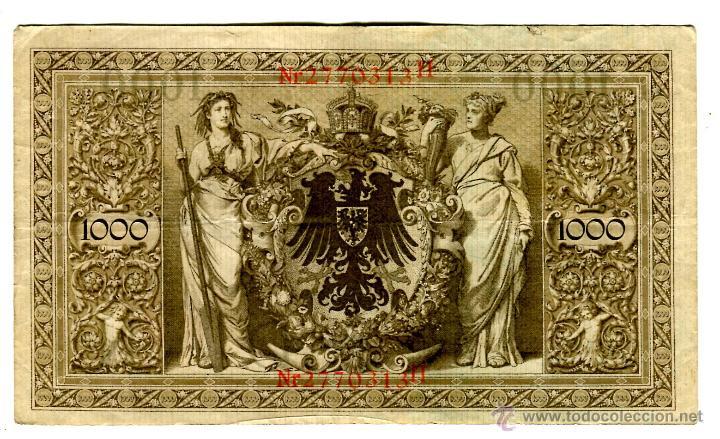 Billetes extranjeros: MIL (1000) MARCOS BERLIN 21 DE ABRIL DE 1910 SELLO ROJO EL DE LAS IMAGENES - Foto 2 - 42319458
