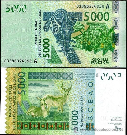 COSTA DE MARFIL 5000 5.000 FRANCOS FRANCS 2003 SC PLANCHA (Numismática - Notafilia - Billetes Extranjeros)