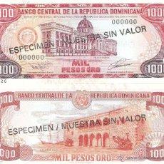Billetes extranjeros: REPUBLICA DOMINICANA 1000 1.000 PESOS ORO 1978 1980 ESPECIMEN P-124 S2 SPECIMEN SC. Lote 42608377