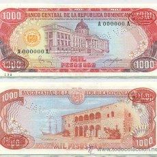 Billetes extranjeros: REPUBLICA DOMINICANA 1000 1.000 PESOS ORO 1984 1987 P-124 S3 ESPECIMEN SPECIMEN SC. Lote 42608384