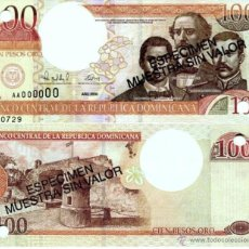 Billetes extranjeros: REPUBLICA DOMINICANA 100 PESOS ORO 2000 ESPECIMEN SPECIMEN SC. Lote 42609646