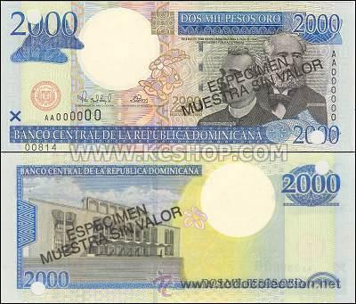REPUBLICA DOMINICANA 2000 2.000 PESOS ORO ESPECIMEN SPECIMEN P-164S SC (Numismática - Notafilia - Billetes Extranjeros)