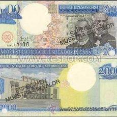 Billetes extranjeros: REPUBLICA DOMINICANA 2000 2.000 PESOS ORO ESPECIMEN SPECIMEN P-164S SC. Lote 42609654