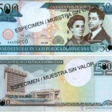 Billetes extranjeros: REPUBLICA DOMINICANA 500 PESOS ORO 2000 ESPECIMEN SPECIMEN P-162S SC. Lote 42609661