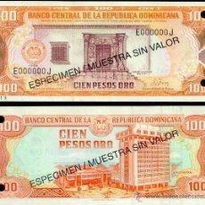 Billetes extranjeros: REPUBLICA DOMINICANA 100 PESOS ORO 1978 / 1981 P-122S1 ESPECIMEN SPECIMEN SC. Lote 42610407