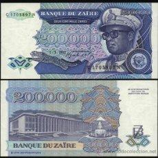 Billetes extranjeros: ZAIRE. 200000 ZAIRES 1.3.1992. PICK 42. S/C.. Lote 293895093
