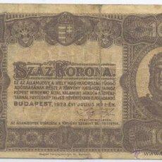 Billetes extranjeros: HUNGRIA- 100 CORONAS- 1923. Lote 42948298