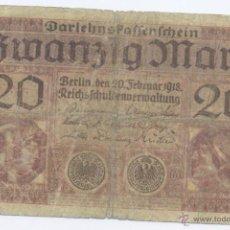 Billetes extranjeros: ALEMANIA- 20 MARCOS- 1918. Lote 42900067