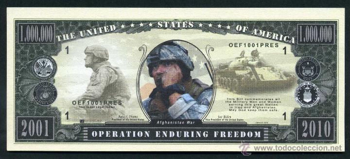 1 MILLON DE DOLARES DEL 2001 - GUERRA DE AFGANISTAN - LIBERTAD DURADERA AFGANISTAN -IRAQ - Nº1 (Numismática - Notafilia - Billetes Extranjeros)