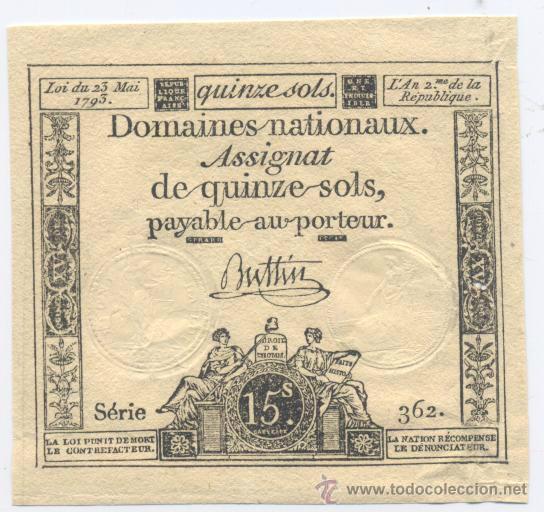 FRANCIA- 15 SOLS- 23-05-1793 (Numismática - Notafilia - Billetes Internacionales)