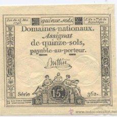 Billetes extranjeros: FRANCIA- 15 SOLS- 23-05-1793. Lote 42949939
