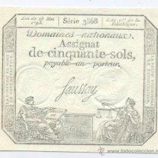 Billetes extranjeros: FRANCIA- 50 SOLS- 23-05-1793. Lote 42949964