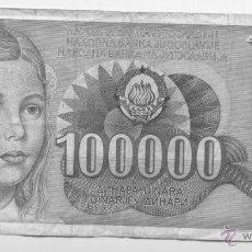Billetes extranjeros: YUGOSLAVIA- 100000 DINARA. Lote 42976715