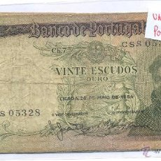Billetes extranjeros: BILLETE PORTUGAL 20 ESCUDOS ORO CIRCULADO. Lote 43137599