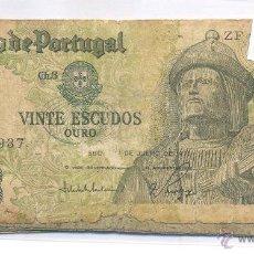 Billetes extranjeros: BILLETE PORTUGAL 20 ESCUDOS ORO CIRCULADO. Lote 43137700
