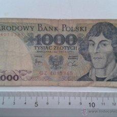Billetes extranjeros: BILLETE NARODOWY BANK POLSKI 1000 TYSIAC ZLOTYCH 1982. Lote 43163320