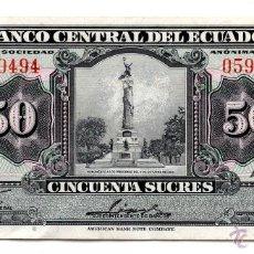 Billetes extranjeros: ECUADOR. 50 SUCRES. QUITO, 10 DE AGOSTO DE 1976.. Lote 43188152