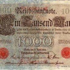 Notas Internacionais: ALEMANIA ( IMPERIO ) : 1000 MARK 1910 SERIE ROJA SC-. Lote 43188208