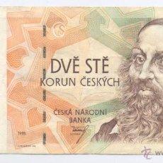 Billetes extranjeros: REPUBLICA CHEKA- 200 CORONAS- 1993. Lote 43243392