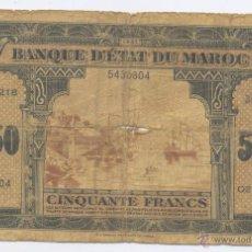 Billetes extranjeros: MARRUECOS- 50 FRANCOS- 1944. Lote 43256445