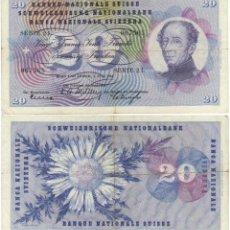 Billetes extranjeros: SUIZA 20 FRANCOS 1954 P-46 A VER DETALLE IMAGEN AMBAS CARAS. Lote 43516983