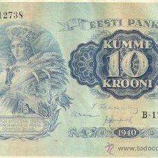 Billetes extranjeros: ESTONIA. 10 KROONI 1940. 3 PIEZAS. S/C. 3 X PICK 68. VER DESCRIPCIÓN, IMÁGENES.. Lote 43573687