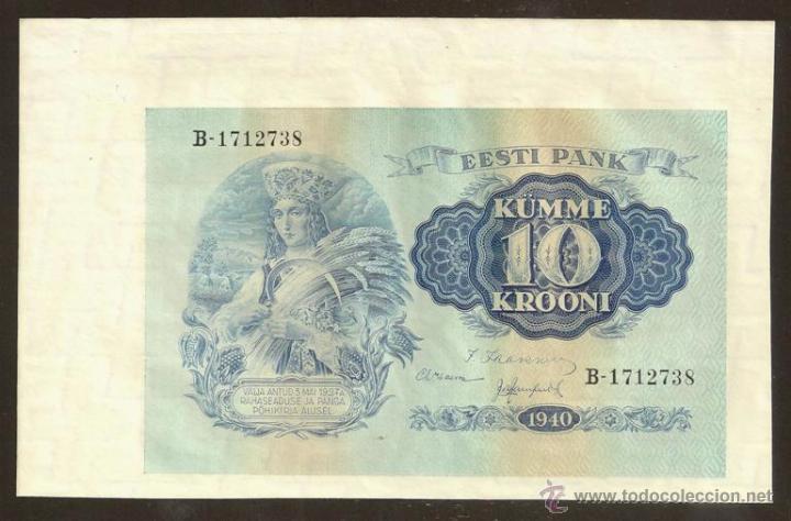 Billetes extranjeros: ESTONIA. 10 krooni 1940. 3 piezas. S/C. 3 x Pick 68. Ver descripción, imágenes. - Foto 3 - 43573687