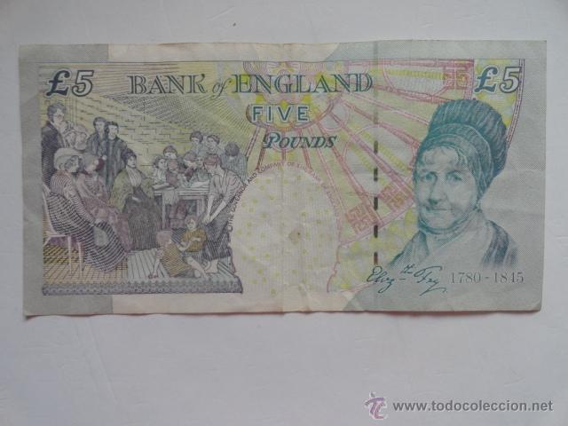 Billetes extranjeros: billete inglaterra 5 libras five pounds - Foto 2 - 43609473