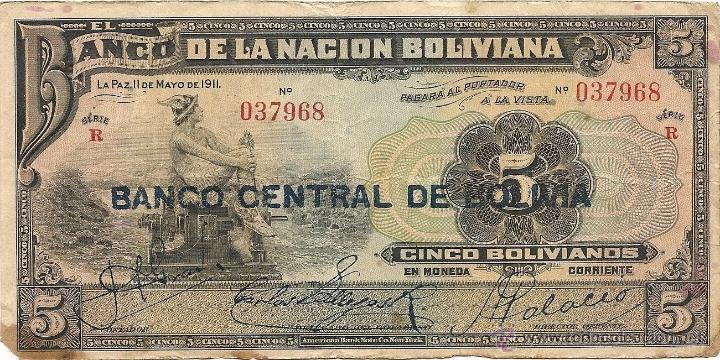 BOLIVIA 5 BOLIVIANOS 1911 SERIE R (Numismática - Notafilia - Billetes Extranjeros)