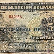 Billetes extranjeros: BOLIVIA 5 BOLIVIANOS 1911 SERIE R. Lote 43708258