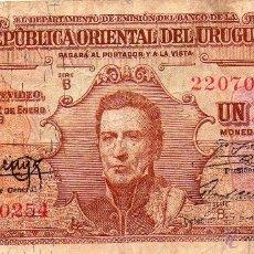 Billetes extranjeros: REPUBLICA ORIENTAL DE URUGUAY UN PESO. Lote 109375919