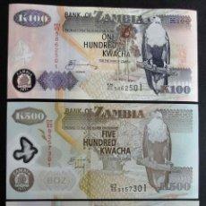 Billetes extranjeros: ZAMBIA. LOTE BILLETES 100 (PAPEL), 500 (POLIMERO) Y 1000 (POLIMERO) KWACHA DE 2011 S/C. Lote 44041695