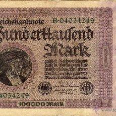 Notas Internacionais: ALEMANIA ( WEIMAR ) : 100000 MARK 1923 MBC. Lote 44237261