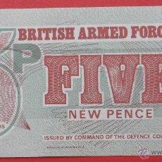 Billetes extranjeros: FUERZAS ARMADAS INGLESAS. BILLETE DE 5 NUEVOS PENIQUES. . SIN CIRCULAR.. Lote 44464461