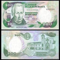 Notas Internacionais: COLOMBIA 200 PESOS ORO 1.4.1991 PICK 429D IBB SC UNC. Lote 222426863