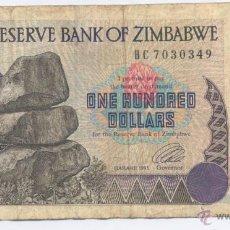 Billetes extranjeros: ZIMBABWE- 100 DOLARES-1995. Lote 180082935