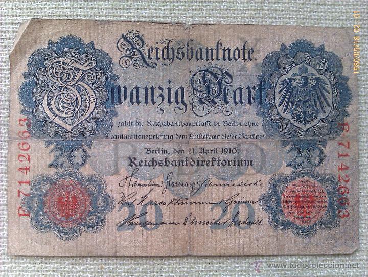BILLETE ALEMANIA. 20 MARCOS. 1910 (Numismática - Notafilia - Billetes Internacionales)