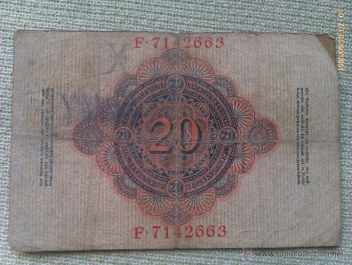 Billetes extranjeros: Billete Alemania. 20 Marcos. 1910 - Foto 2 - 44936645