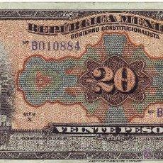 Billetes extranjeros: 20 PESOS REPUBLICA MEXICANA JULIO 1915. Lote 45326187