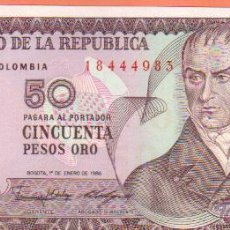 Billetes extranjeros: PRECIOSO BILLETE DE CINCUENTA PESOS ORO DE COLOMBIA.DE 1986 MAS BILLETES EN MI TIENDA VISITALA . Lote 45541766