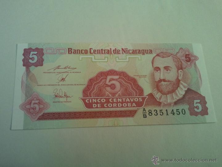 BILLETE DE NICARAGUA DE 5 CENTAVOS DE CORDOBA SIN CIRCULAR PLANCHA (Numismatik - Notaphilie - Internationale Banknoten)